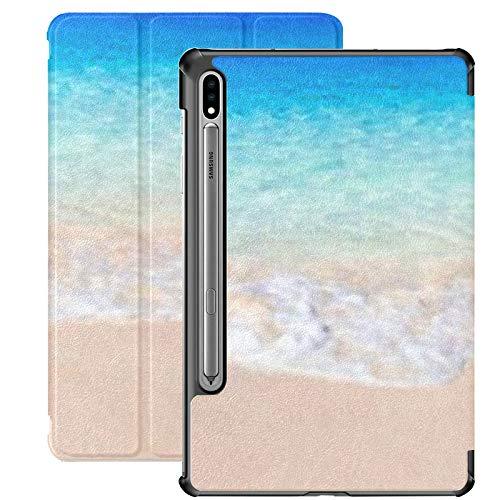 Funda Galaxy Tablet S7 Plus de 12,4 Pulgadas 2020 con Soporte para bolígrafo S, Soft Waves Blue Ocean On Sandy Funda Protectora Tipo Folio con Soporte Delgado para Samsung