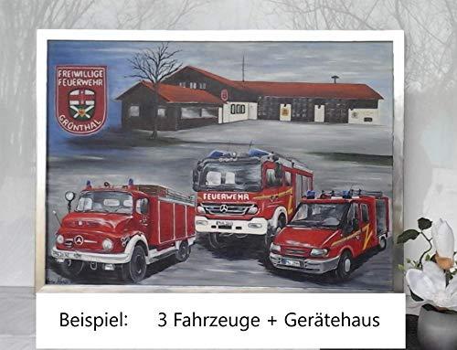 Feuerwehr Wunschbild Atelier Karin Haase zeitgenössische moderne Malerei Wand Bild Unikat Acryl auf Leinwand Hand gemalt