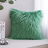 Phantoscope Faux Fur Pillow Cover Decorative Fluffy Throw Pillow Mongolian Soft Fuzzy Pillow Case Cushion Cover for Bedroom and Couch,Green 18 x 18 Inches