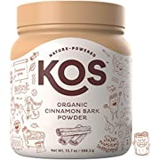 KOS Organic Cinnamon Bark Powder - Freshly Ground, True Ceylon Cinnamon Bark Powder - USDA Organic, Gluten Free, Promotes Healthy Blood Sugar Levels, Plant Based Ingredient, 388.5g, 111 Servings
