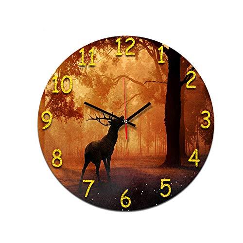 LUOYLYM Antilopen Figur Wohnzimmer Digitale Retro Wanduhr Acryl Stumm Hause Kreative Mode Uhr Randlose Wecker P190430-160 28cm