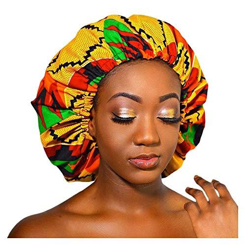 Bonnet en soie imprimée pour femme, double couche de sommeil, grand bonnet, doublé de satin, bonnet de nuit doux, bonnet de douche bouffant chapeaux pour salon spa fournitures de sommeil
