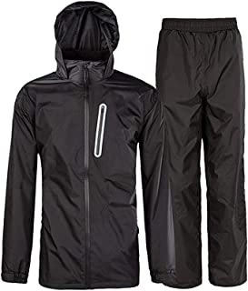Rain Suit Gear Coat for Men Waterproof Hooded Rainwear Jacket & Trouser
