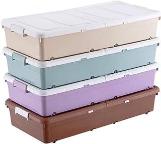WYCD 4 Boîtes De Rangement Plastique Boîte Dessous De Lit avec Couvercle Et sur roulettes Solide Et Empilable Boîtes Organ...