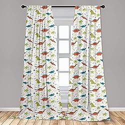 2. Ambesonne Nursery 2 Panel Dinosaur Cartoon Doodle Curtain Set