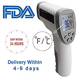 SOMUNS Thermometer for Adult,Infrared Forehead Digital Medical Temporal Non-Contact Thermometer Temperature FCC CE Approved with Memory LCD Display for Body Baby (Grey)