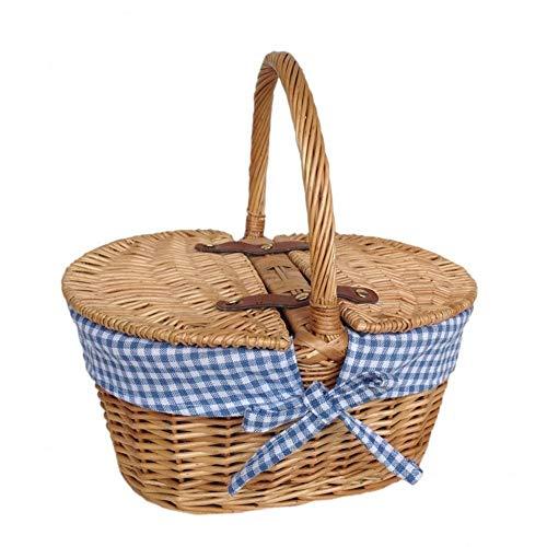 Red Hamper Ovales gefüttertes mit Lidded geflochtenes Picknickkorb des Kindes