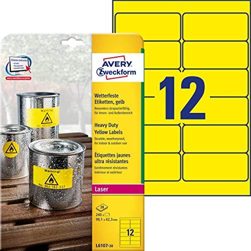 AVERY Zweckform L6107-20 Wetterfeste Folienetiketten (99,1x42,3 mm auf DIN A4, extrem stark selbstklebend, wasserfest, bedruckbare Outdoor Klebefolie) 240 Aufkleber auf 20 Blatt gelb