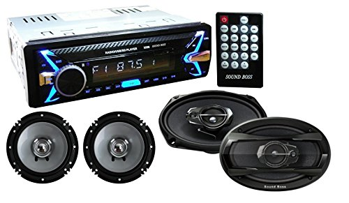 """SoundBoss Detachable Car Stereo Fm Mp3 USB Sd Aux-in +, 6""""X9""""inch 3Way Performance Auditor 480W MAX Coaxial Car Speaker, 6inch Pair of Coaxial Car Speaker Combo"""