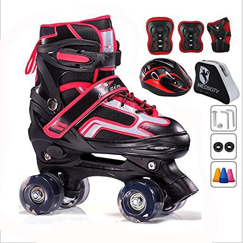 WEDSGTV Quad Rollschuhe Universal Jungen Und Mädchen Speed Skates Für Kinder Einstellbare Größe Geeignet Für Anfänger,Red+Protector-L