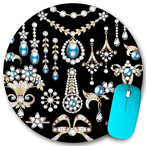 Rundes Mauspad, Schmuck Wertvolle Ohrringe Halskette Anhänger Luxus Diamant Perle Schatz, rutschfeste Gummibasis Office Home Mauspads Kleine 7,9x7,9 Zoll Mouse Mate