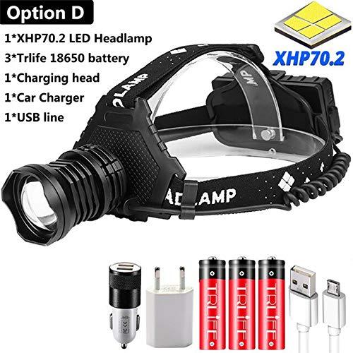 Puissant 8000LM XHP70.2 LED Phare USB Rechargeable Phare Étanche Zoomable Puissance Banque Pêche Lumière En Utilisant 18650 Batterie Option D