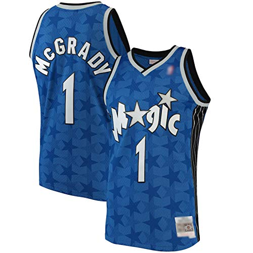 Enid Camiseta de baloncesto clásica Tracy McGrady sin mangas, bordado Orlando Magic Basketball Uniforme, poliéster transpirable #1 azul sudadera