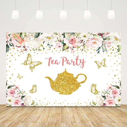 5x3ft Let's Partea Backdrop for Photography Pink and Gold Floral Tea Party Picture Background Afternoon Tea Photography Banner Baby Shower Party Decorations Kids Birthday Party Supplies Photo Booth