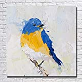 WZYWLH Morden Abstrakte Handgemalte Ölgemälde Tier Blue Bird Wandkunst Bild