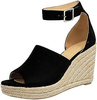 9d46fabf3 Women's Wedges Sandals-Ladies Summer High Platform Elastic Band Open Toe  Slingback Ankle Strap Shoes