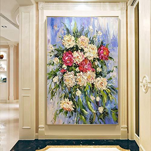 YuanMinglu Abstrakte Blumenkunst Ölgemälde Leinwand Wandkunst Bild Dekoration Wohnzimmer Hauptdekoration Geschenk Rahmenloses Bild 45x75cm