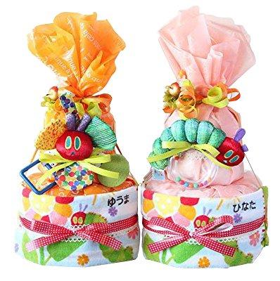 はらぺこあおむし 2段 おむつケーキ タオル ネーム タオル おもちゃ ギフト セット (オレンジ×リングラトル,パンパースMテープ)