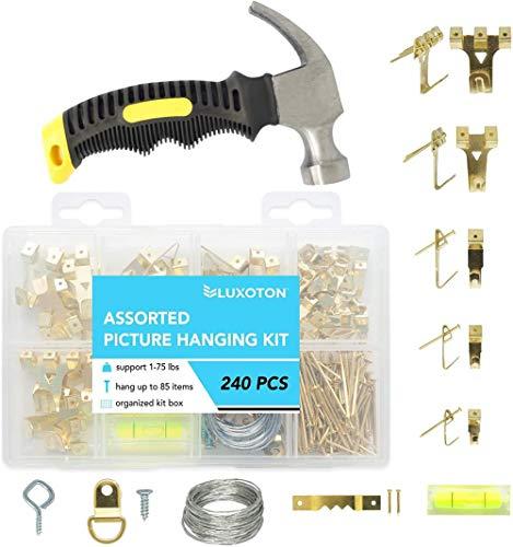 Mazu Homee Kit de suspensión de 241 piezas, varios ganchos para colgar cuadros, clavos, cables de acero, agujeros de tornillo, dentaduras en D, accesorios pesados y martillos de garra