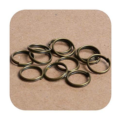 F-pump 4/5/6/8/10 mm 200 Stück Edelstahl Rhodium Metall Doppelbinderinge für Schmuckherstellung DIY Zubehör Armband Finding-Dri04 Bronze - 8 mm