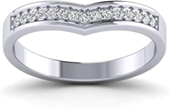 Fehu Jewel 0.15cts Natural Diamond Gold Over Sterling Silver Diamond Promise Ring for Her (White-Gold-Plated-Silver, 7)