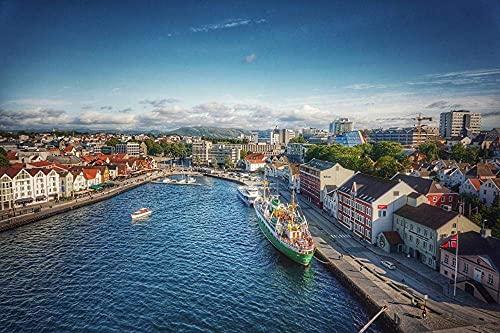 1 000 bitar pussel för vuxna snorway Stavanger Ship Pier Housescardboard pusselset pedagogiska leksaker utmaning pussel leksaker heminredning gåvor 38 x 26 cm (1 000 st)