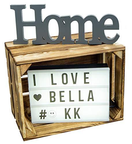 Kistenkolli Altes Land Bella Caisse en bois flammé 40 x 30 x 25 cm Caisse en bois Cagette à pommes Caisse à vin Caisse de rangement