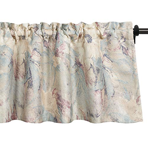 VOGOL Floral Blossom Ink Painting Valances for Windows, Watercolor Blooming Flower Floral Textured Rod Pocket Window Valances for Living Room Bedroom Girls Room, 52''x18'', One Panel