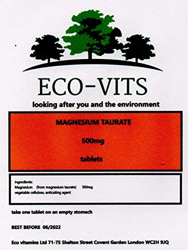 Magnesium TAURATE 500mg 365 Tablets Cardiovascular protectant, Blood Flow