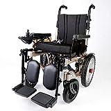 DONG Silla de Ruedas eléctrica, Plegable Ruedas discapacitados en Silla de Ruedas Viejas de luz eléctrica Inteligente automático, Negro