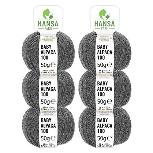 100% Baby Alpakawolle in 50+ Farben (kratzfrei) - 300g Set (6 x 50g) - weiche Alpaka Wolle zum Stricken & Häkeln in 6 Garnstärken by Hansa-Farm - Dunkelgrau (Grau)