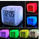 Winnes Kids Alarm Clock 7 Colors Changing Bedroom Kids Desk Electronic Clock Thermometer