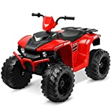 Kidzone 12V Electric Kids Ride-On Car ATV with DIY License Plate, 4 Big Wear Resistant Tires, MP3, 2 Speeds, LED Lights, Bluetooth, Radio, Red