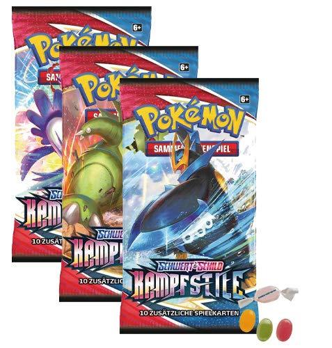 Pokemon Schwert & Schild - Kampfstile - 3 Booster - Deutsch zusätzlich 1 x Sticker-und-co Fruchtmix Bonbon