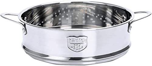 Minkissy 18cm Stainless Steel Steamer Basket Food Steamer Basket with Handles for Home Kitchen Restaurant for Bao Bun Dump...