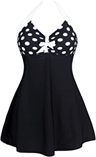 Aleumdr Women's Vintage Sailor Pin Up One Piece Skirtini Cover Up Swimdress