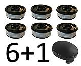 6 x Rasentrimmer Ersatz Spule + 1 Spulenabdeckung/Haube passend für ALDI Gardenline Elektro Rasentrimmer GLR GLT 450 451 452 453 454 455 456 457 458 459 & GLR 450/1 bis 450/9
