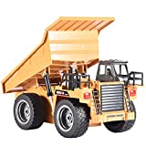 InKach Remote Control Dump Trucks, Boys Toys 1/18 6CH Construction RC Vehicles Dump Truck Engineering Electric Car Remote Truck (Yellow_Dump Truck)