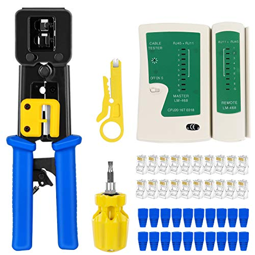 RJ45 Crimp Tool Kit Pass Thru Cat5 Cat5e Cat6 RJ45 Crimping Tool with 20PCS RJ45 Cat6 Pass Through Connectors, 20PCS Covers, 1 Network Cable Tester,1 Wire Punch Down Cutter and 1 Mini Screwdriver