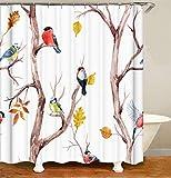 LGY Süße Vögel Auf Den Zweigen. Duschvorhang. Hintergr&tuch. 180X180Cm. Hd 3D-Druck. Wasserdichter Stoff.