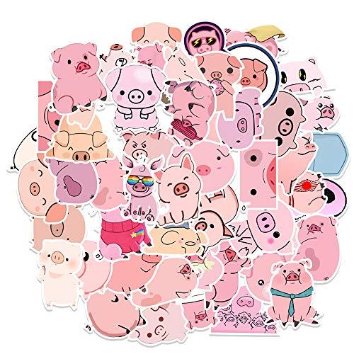 WUWEI Pegatina creativa de cerdo rosa Avai Piggy Sticker DIY Álbum de fotos Maleta de coche Portátil Monopatín Calcomanía 50pcs