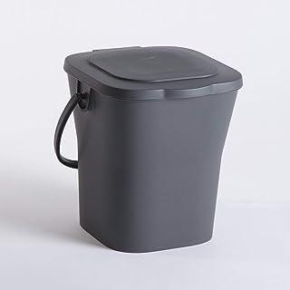 EDA 13119 G Seau Compost 6 L avec Couvercle, polypropylène, Gris, Dim. : 24,8 x 23,8 x 24,3 cm
