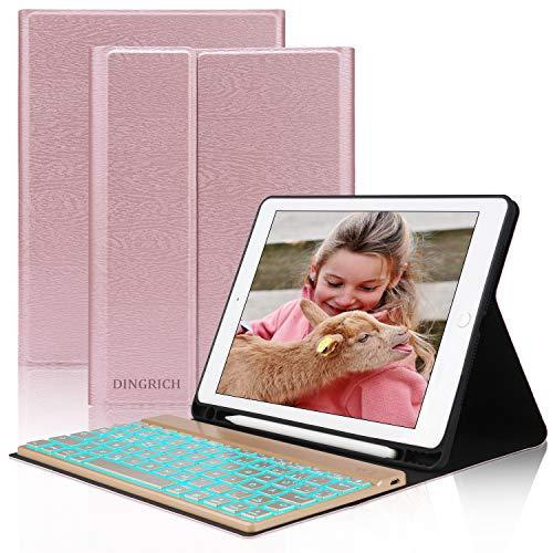 D DINGRICH Tastatur Hülle Kompatbel mit iPad8 Generation 10.2 2020, 7 Gen. 2019, Air 3 2019, Pro 10.5 2017, Schützhülle mit Beleuchtung Wireless Tastatur [QWERTZ], Stifthalter, Rosegold
