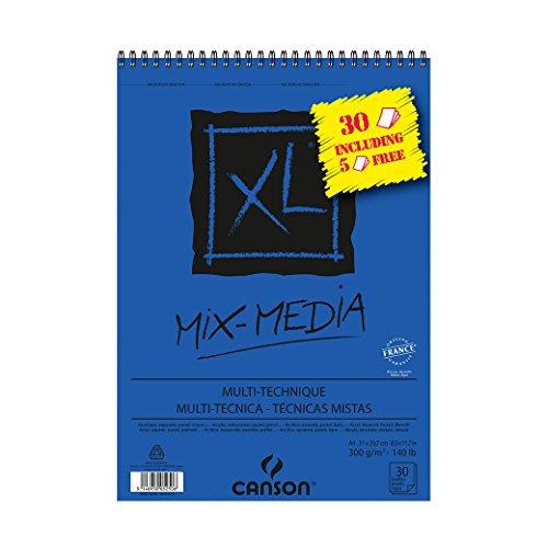 Canson - Album XL Mix Media Papier à Dessin A4 21 x 29,7cm 30 Feuilles Blanc 300g