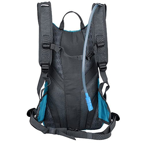 SolarGoPack Solar Powered 1.8 Liter Hydration Backpack / 7 Watt Solar Panel and 10K mAh Charging Battery/Phone and Electronic Device Power Charger Back Pack/Teal Blue