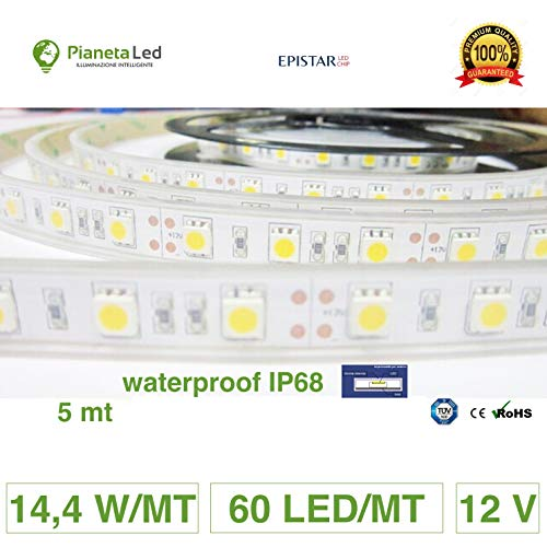 ROTOLO 5 METRI STRISCIA 300 LED 5050 SMD WARM WHITE 5 MT LUCE BIANCA CALDA PER USO ESTERNO WATERPROOF IP68 PER IMMERSIONE