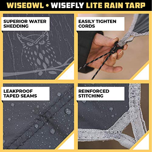 Product Image 1: Wise Owl Outfitters Rain Fly Tarp – The WiseFly Premium 11 x 9 ft Waterproof Camping Shelter Canopy – Lightweight Easy Setup for Hammock or Tent Camp Gear – Charcoal Grey & Light Grey
