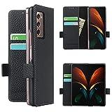 Copmob Samsung Galaxy Z Fold2 5G Hülle,Echtes Leder Flip Brieftasche Handyhülle,[3 Slots][Magnetknopf][Bracket-Funktion],Ledertasche Schutzhülle for Samsung Galaxy Z Fold2 5G - Schwarz