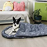 GeerDuo Dog Sleeping Bag Waterproof Warm Packable Dog Bed Mat with Storage Bag for Indoor Outdoor Travel Camping Hiking Backpacking (Bone, Large)