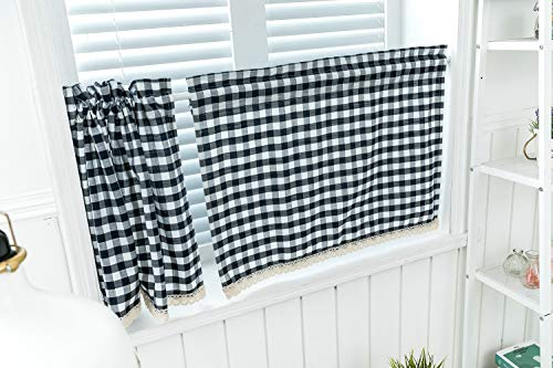 """2 Pack Kitchen Window Tiers Farmhouse Living Buffalo Check Window Short Curtain Tiers for Kitchen, 24 Inches Long Plaid Country Style Tier Curtains for Samll Windows (36"""" W X 24"""" L, Navy Blue)"""
